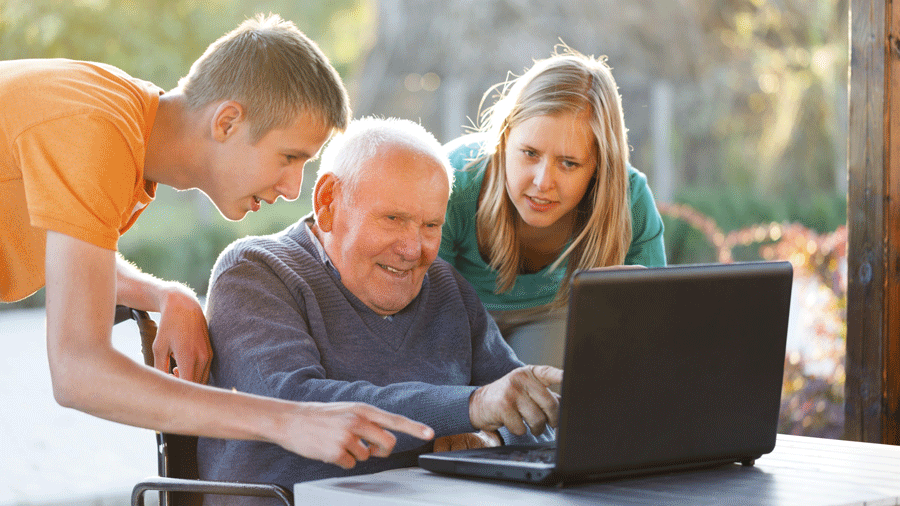 Family using technology