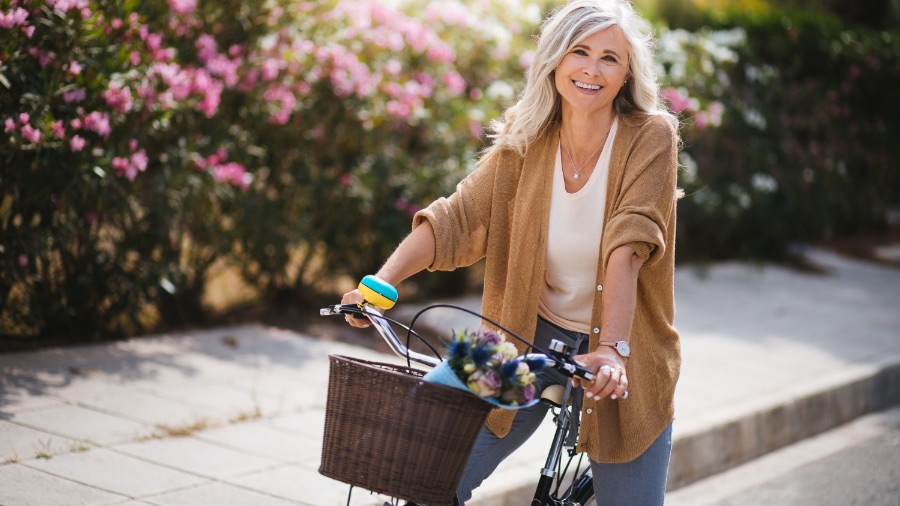 Middle age woman on bicycle