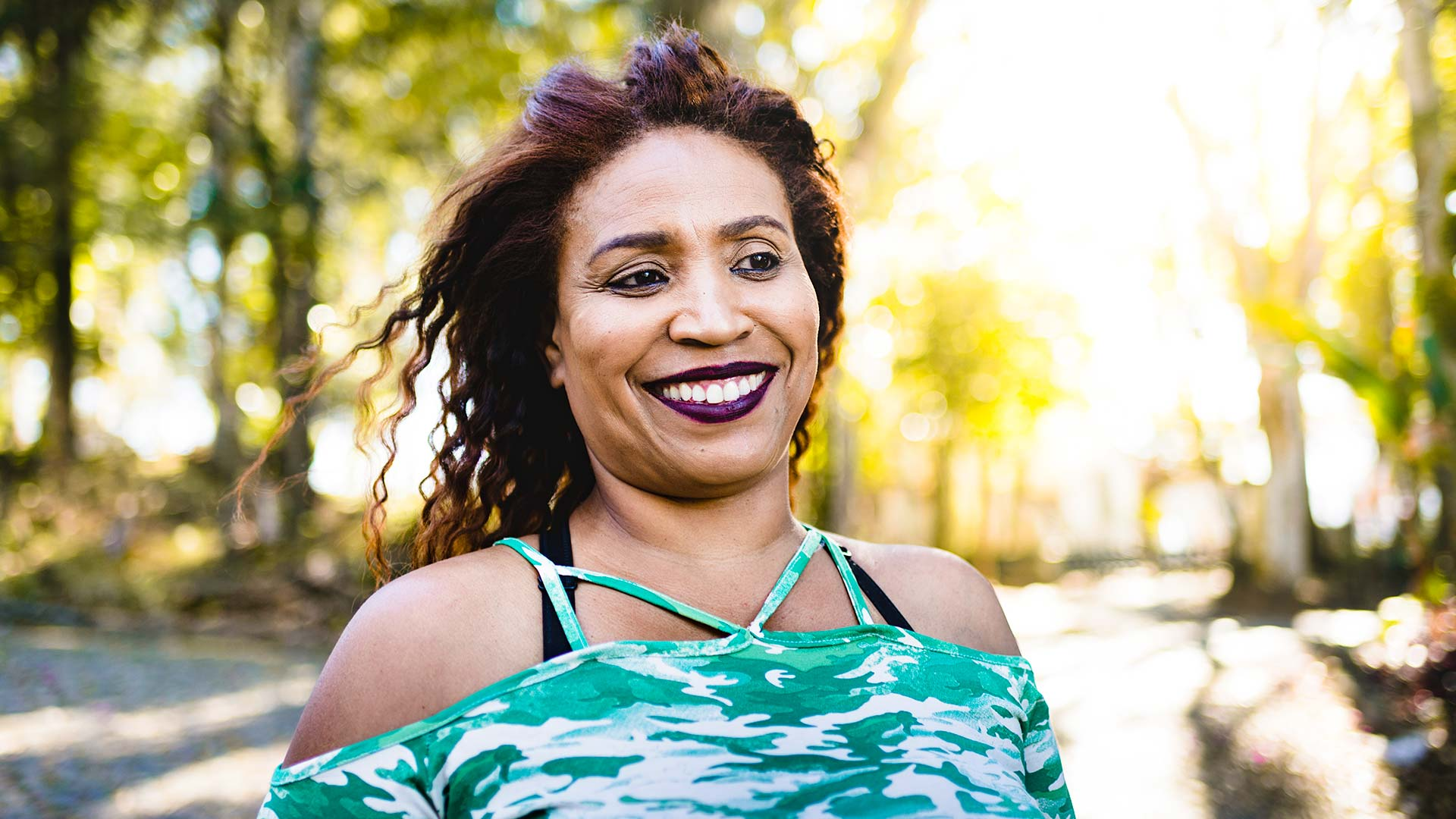 African American mature woman smiling