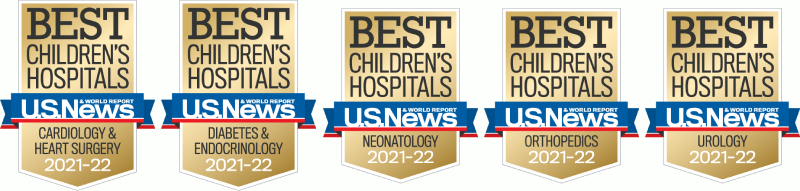 Ranked Best Children's Hospital in 2021 to 2022 by US News World Report in five specialties