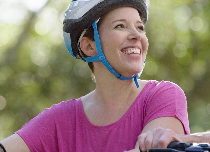 Karen Lorenz riding her bicycle