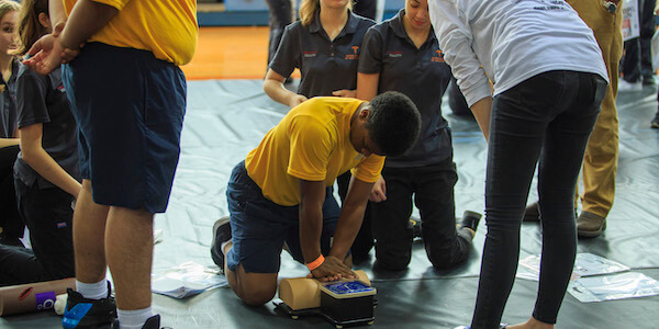 High school students train with trauma experts