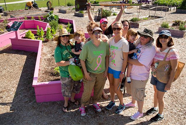 Orlando Health team members working in a garden