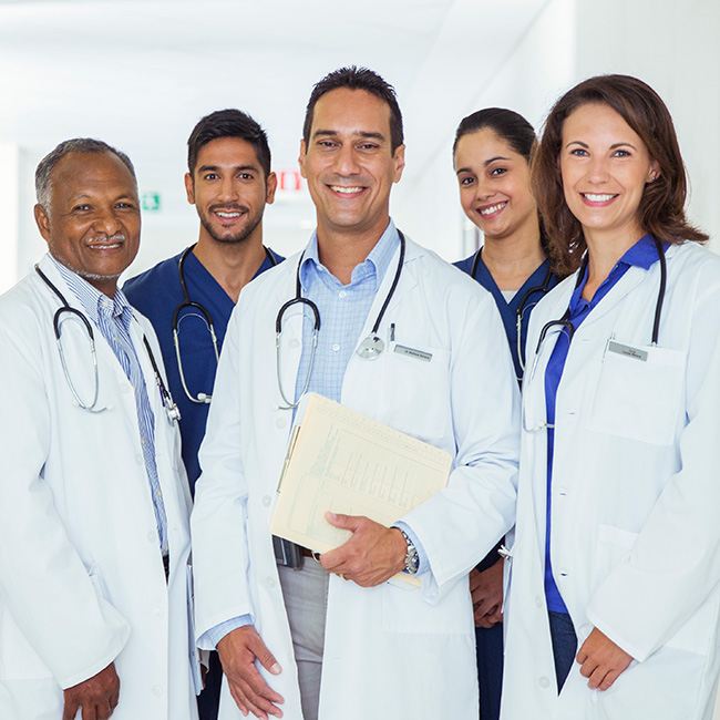 Group of smiling physicians