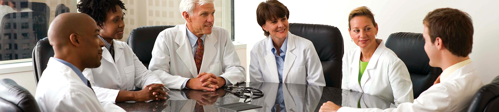 Physicians meeting at conference table