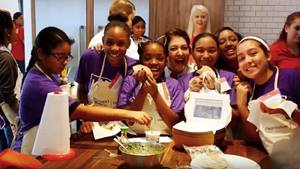 Kids learning how to cook and eat healthy meals during the American Heart Association's Kids Cook with Heart challenge.