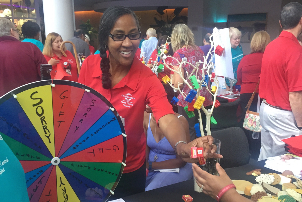 Team member with spinning wheel